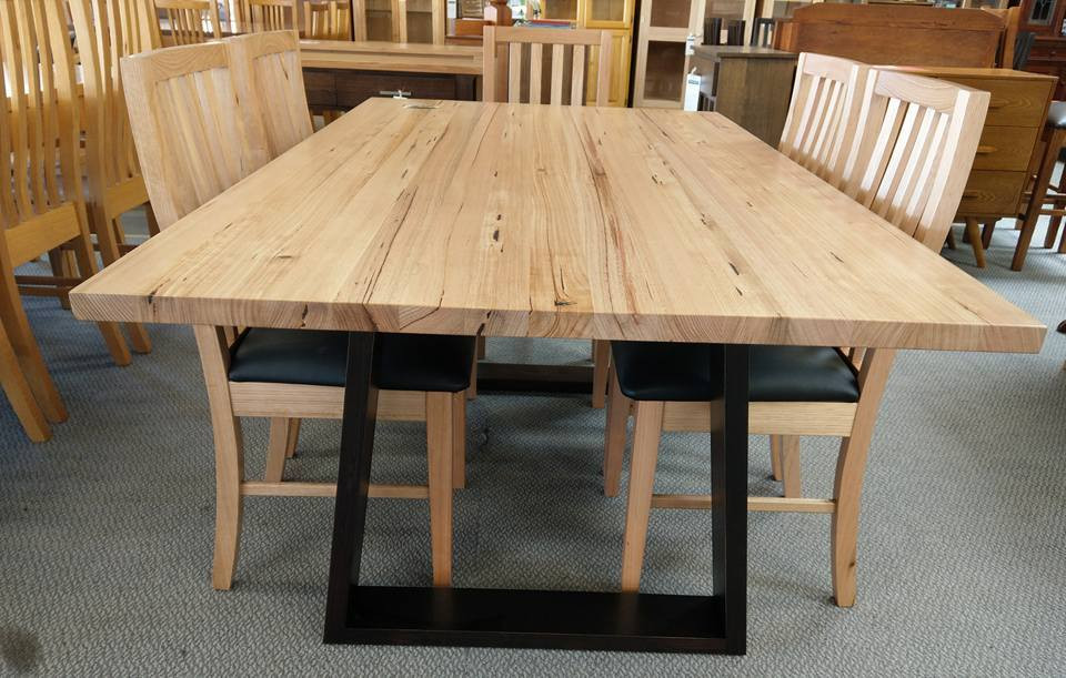 Tassie Oak V shape Pedastel Dining Tables
