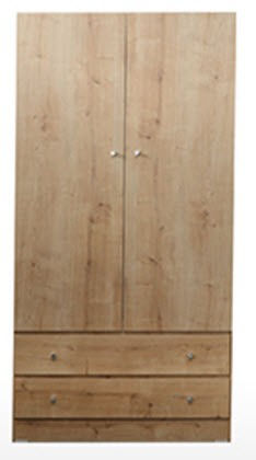 "36"" 2 Door 2 Drawer Melamine Robe"