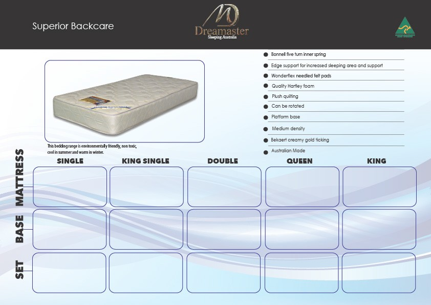 Superior Backcare 10 year warranty Mattress